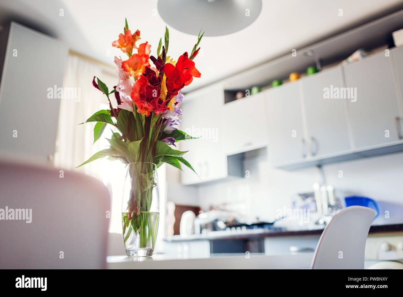 Modern kitchen design. Interior of white and silver kitchen ...