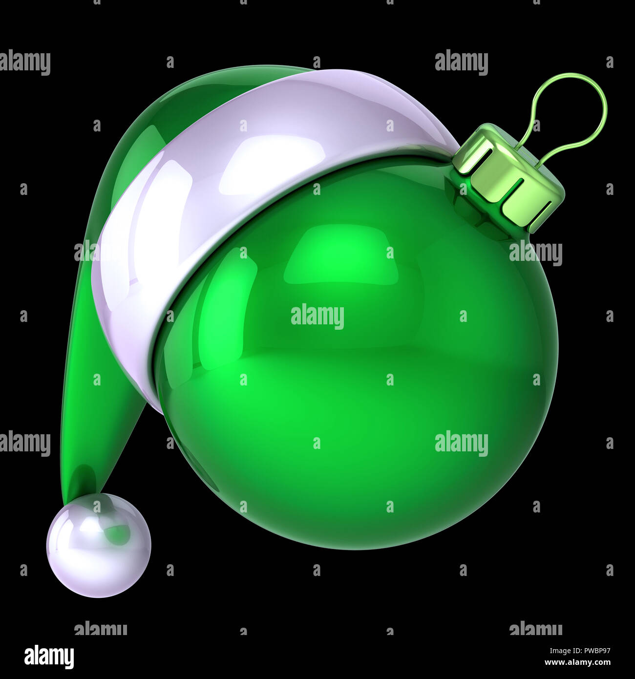 590361b23b03b Christmas ball green Santa Claus hat decoration ornament funny blank. New  Year s Eve Day bauble. Merry Xmas icon concept. 3d illustration