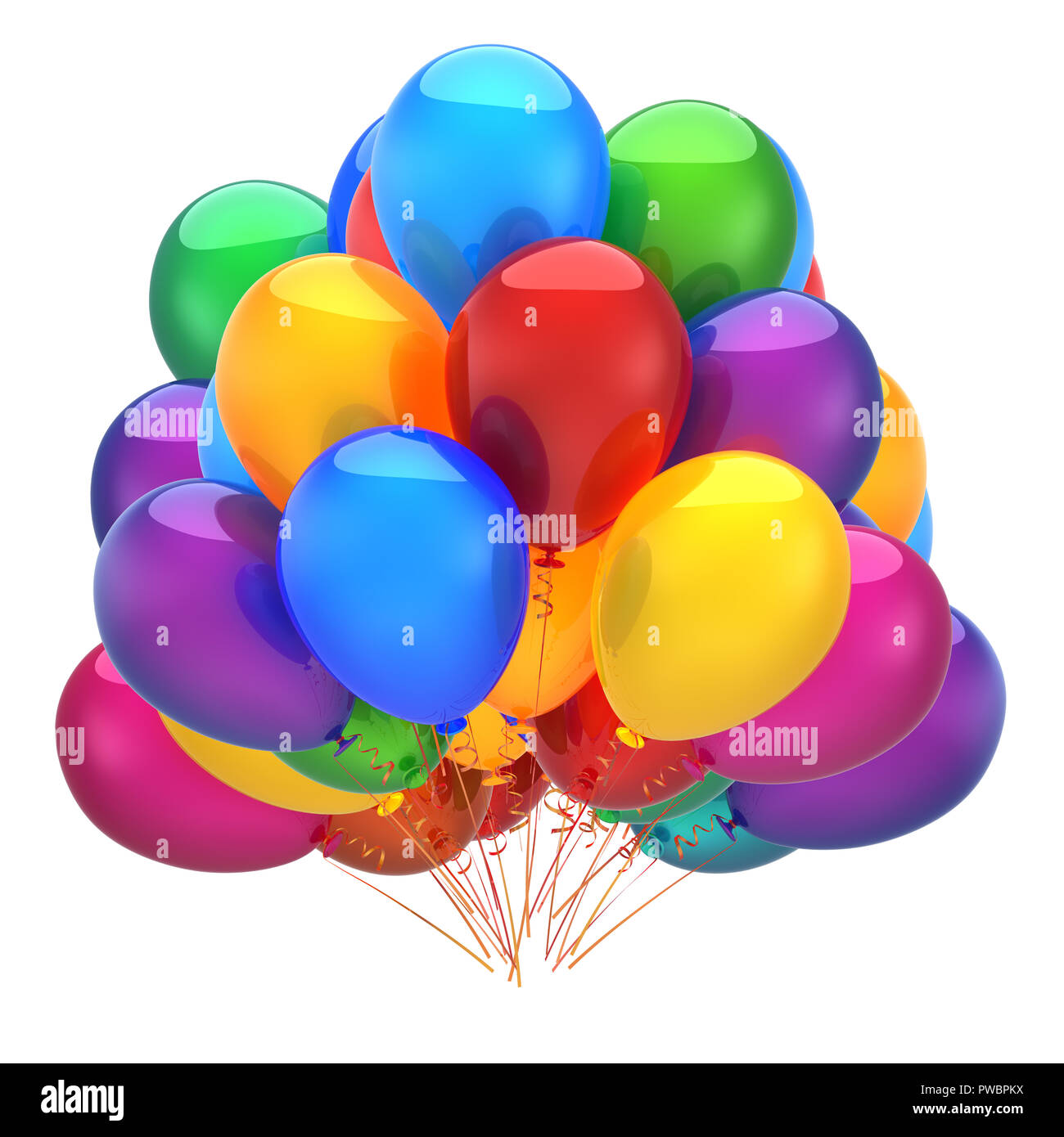 Bunch Of Party Helium Balloons Colorful Happy Birthday Decoration Multicolor Shiny Holiday Carnival Anniversary