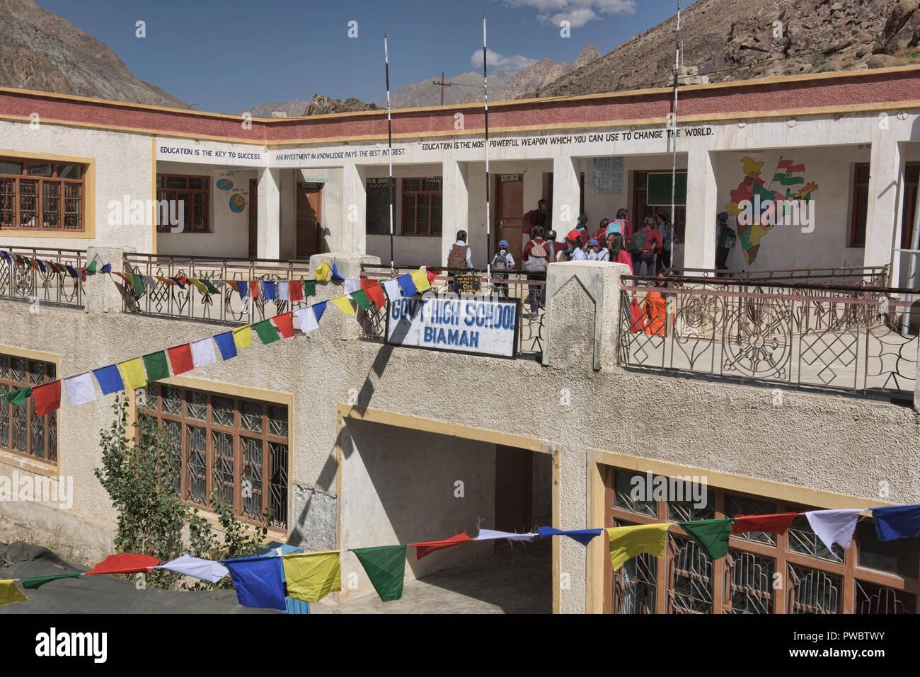 High school in the Aryan Valley, Ladakh, India - Stock Image