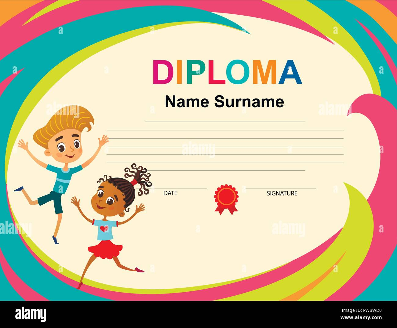 kids diploma certificate background design template vector stock