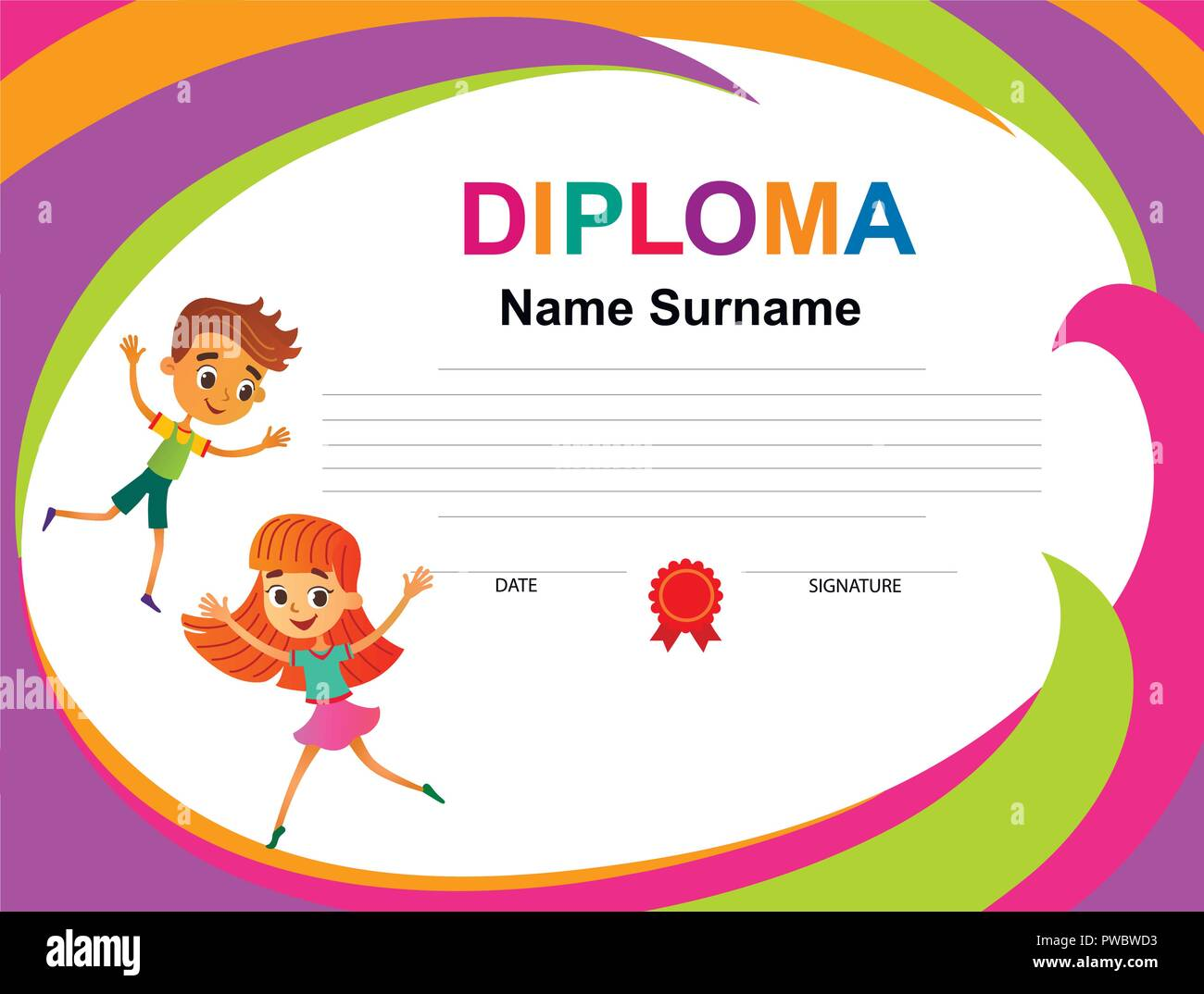 kids diploma certificate background design template vector stock