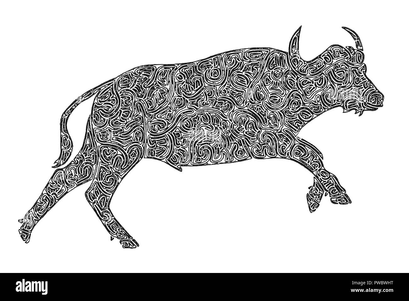 Illustration of an African buffalo bull running, black-and-white, maze lines, drawing Stock Photo