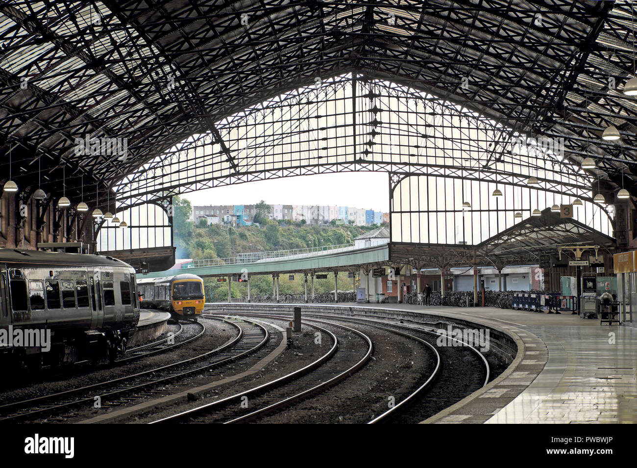 A view of the railway tracks and trains from inside Bristol Temple Meads train station in the city of Bristol England UK  KATHY DEWITT - Stock Image