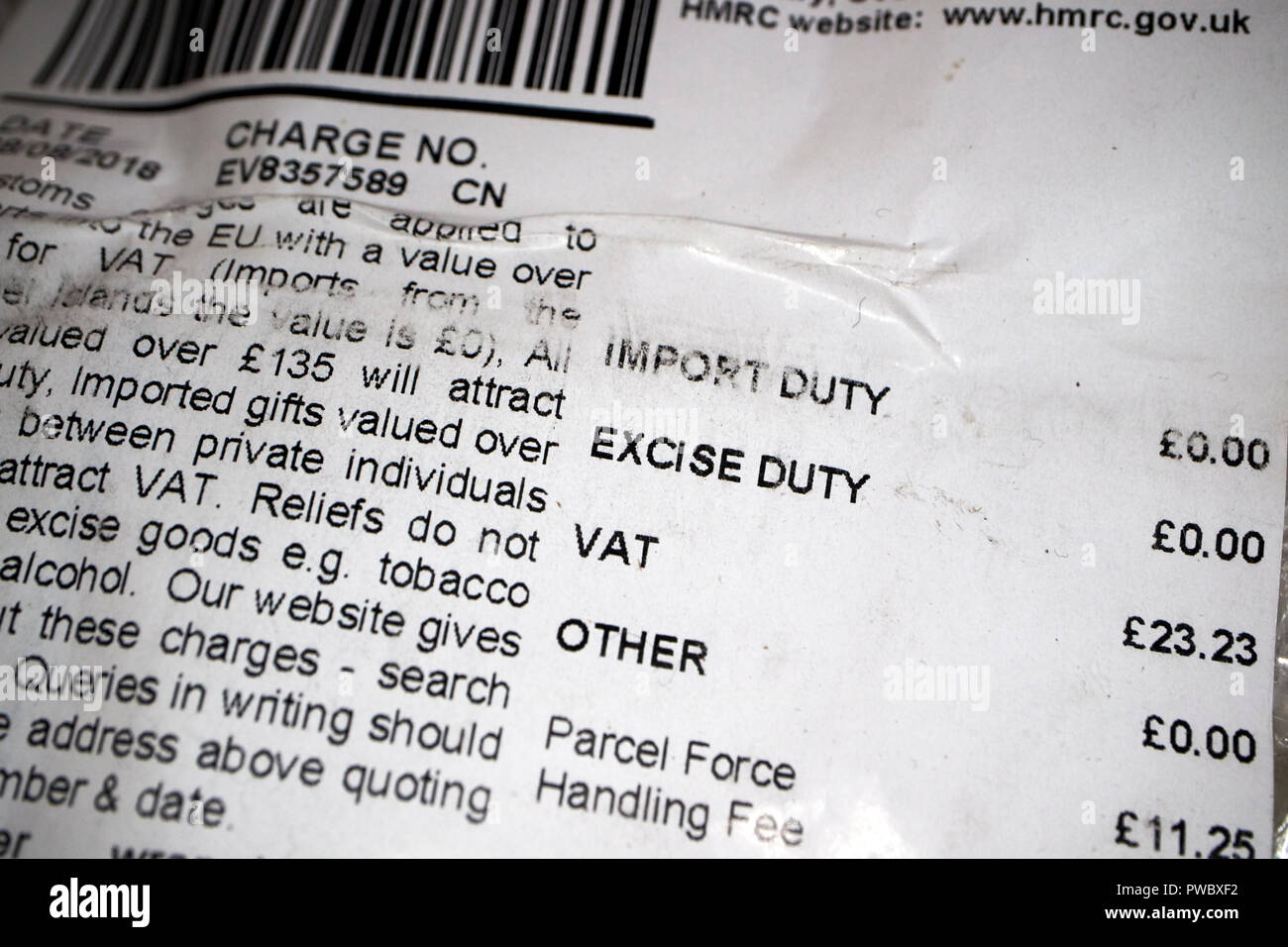 border force customs VAT charge on parcel imported from outside the EU - Stock Image