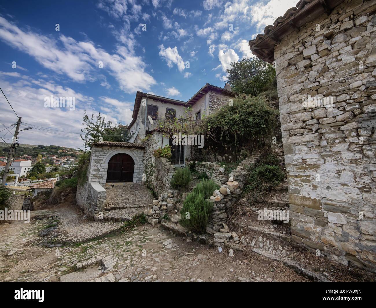 Small streets  Berat city of 1000 windows in Albania Stock Photo