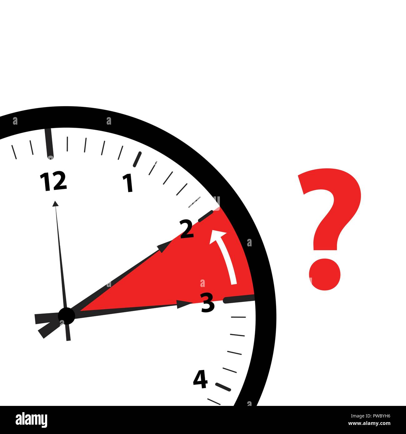 clock time zone change icon image with red question mark vector illustration - Stock Image
