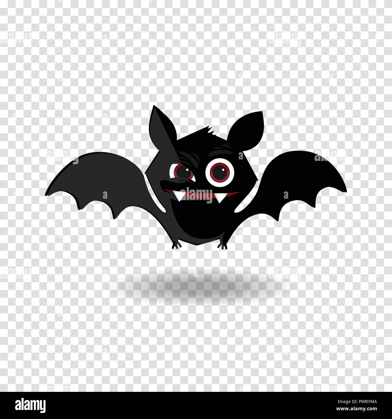 vector cartoon illustration of cute friendly black bat character rh alamy com Happy Halloween Clip Art All Halloween Pictures Clip Art