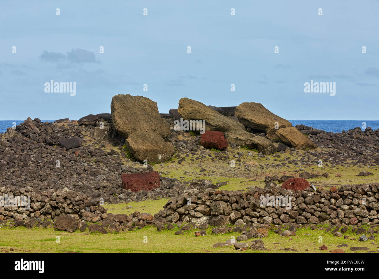 Laying Moais at Ahu Ura Uranga Te Mahina Ura-Uranga Moai fallen, Easter Island, Rapa Nui, Isla de Pascua - Stock Image