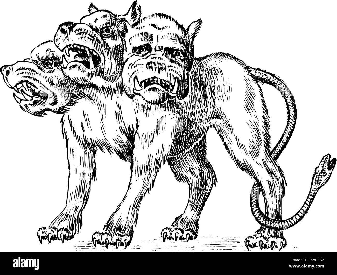 Cerberus three headed dog mythical greek antique monster mythological animal fantastic creatures in