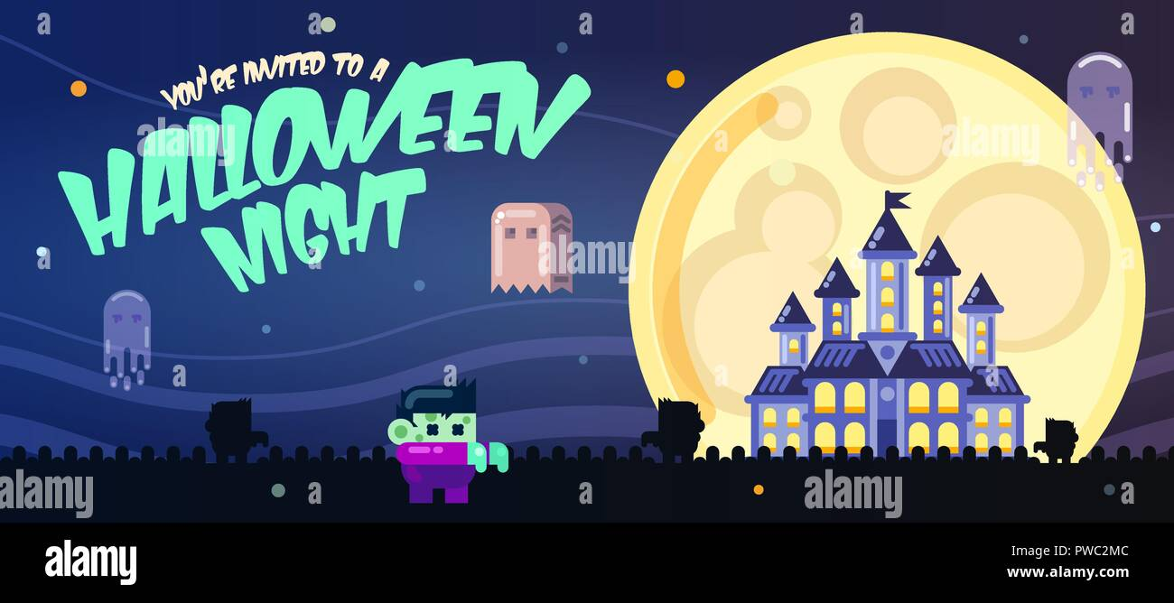 Halloween Poster With Castle Ghosts Full Moon And Zombies