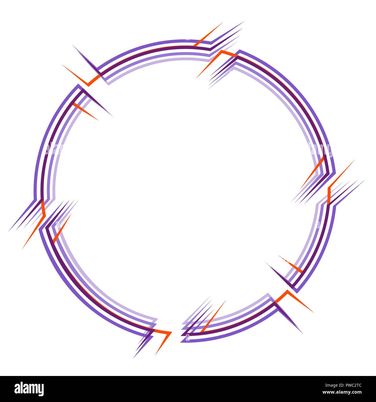 round frame with breaks of contours of several elements, glitch - Stock Vector