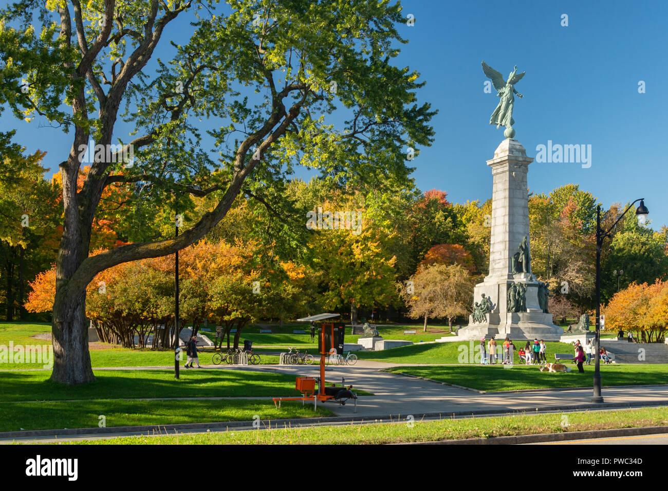 Autumn Decor Photograph Angel Monument and Cross Montr\u00e9al Fine Art Print Wall Art Mont Royal  Mount Royal Fall