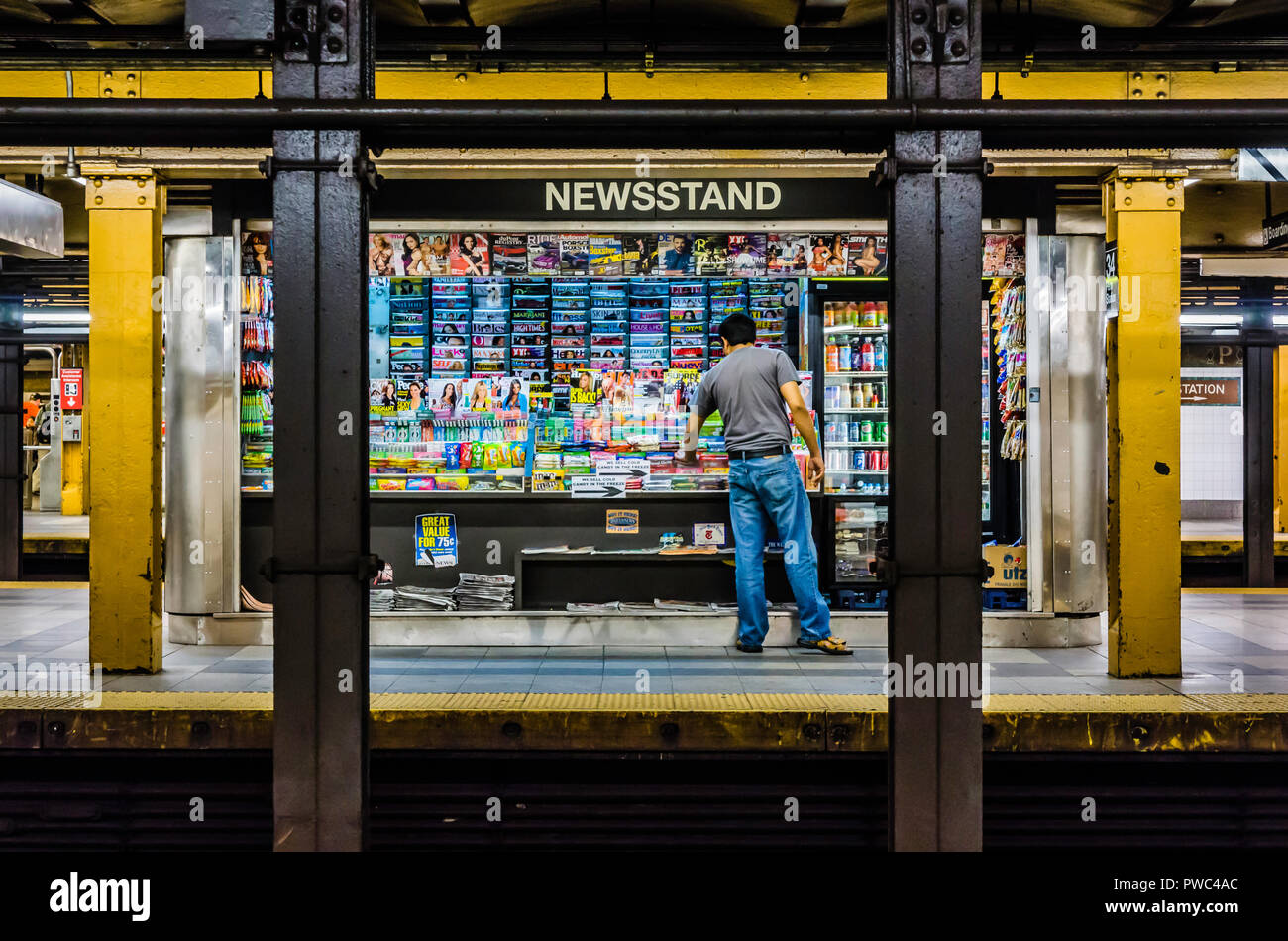 Newsstand 34th street penn station subway station manhattan new york new york