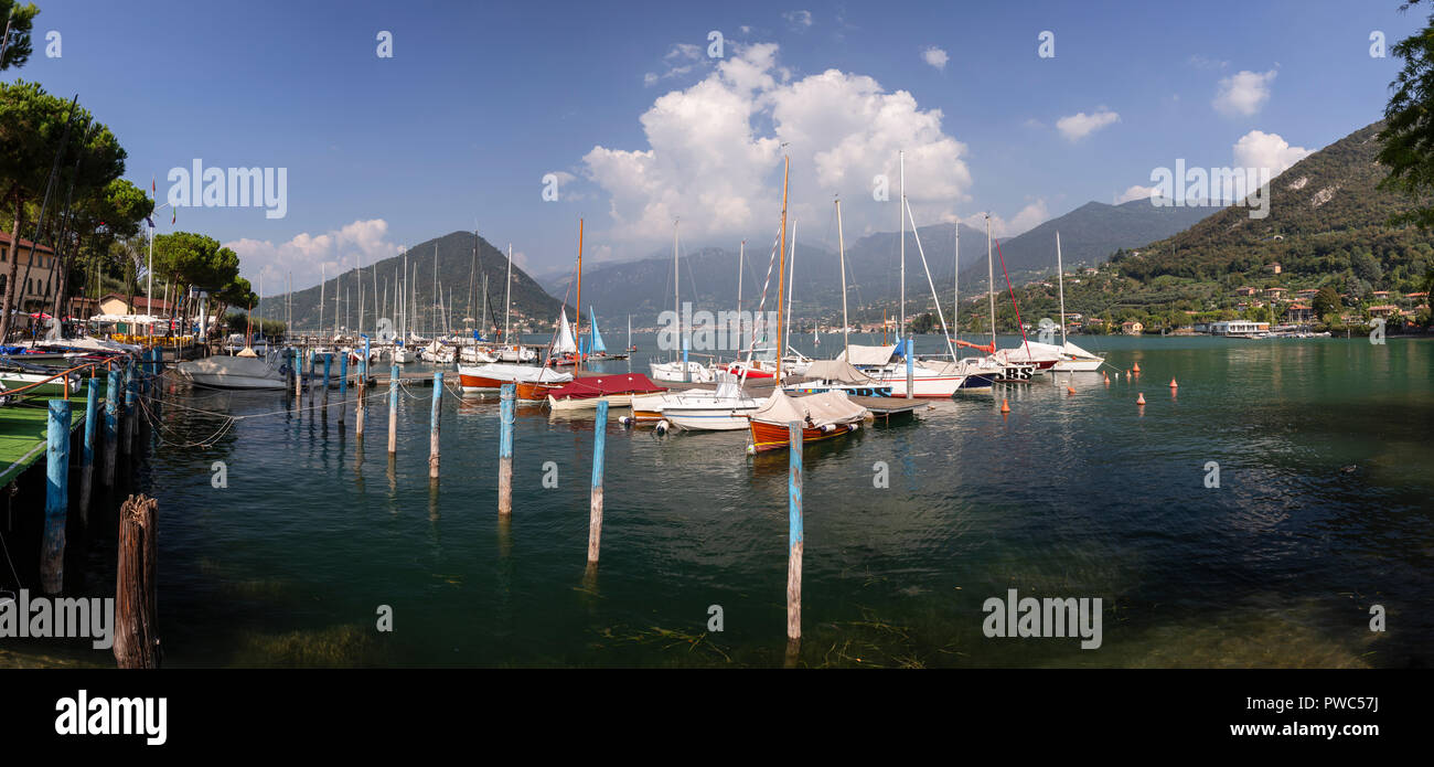 Boats moored at Pilzone on Lake Iseo in northern Italy Stock Photo