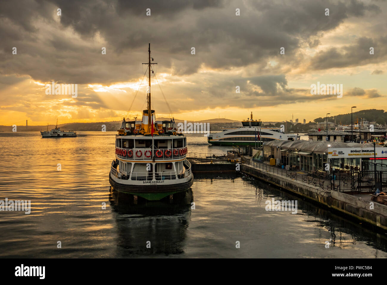 istanbul,Turkey-July 20,2016.cityscape and city lines ferries for passenger transport to asia from europe continent in istanbul - Stock Image