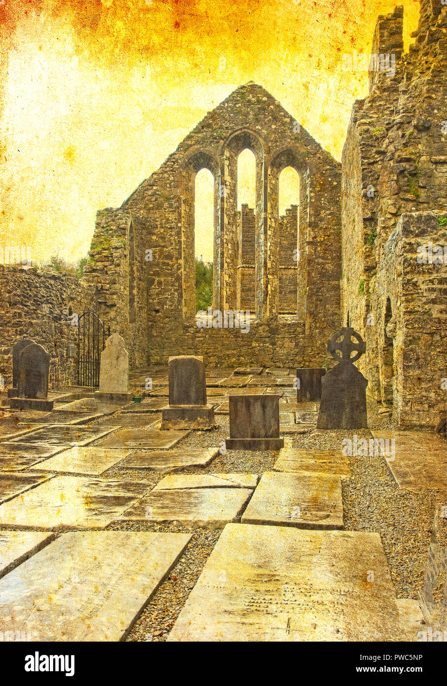 A textured scene of Cong Abbey in the village of the same name straddling the County Galway and County Mayo borders in Ireland. Stock Photo