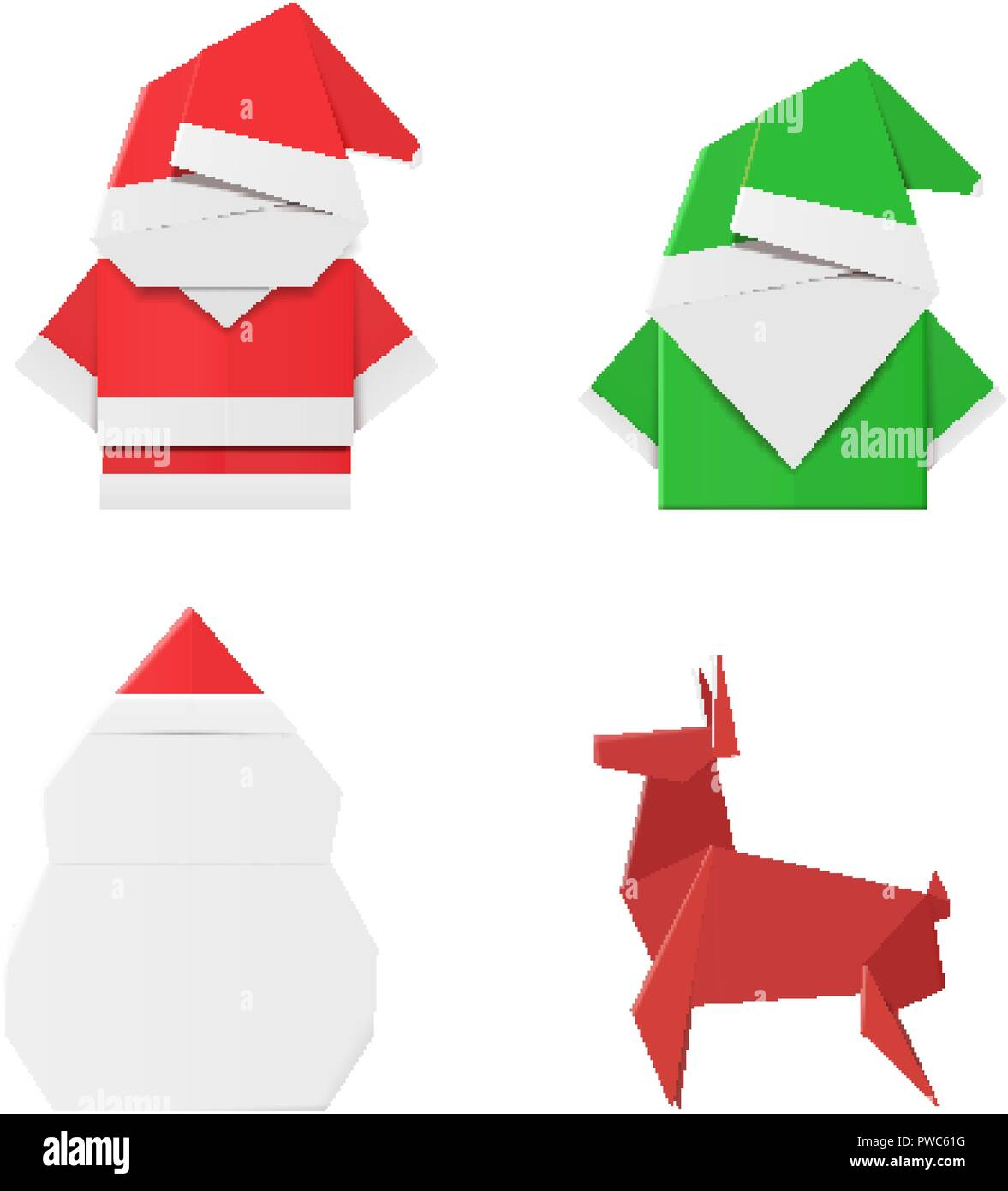 Set of origami Christmas characters: Santa Claus, elf, snowman and deer. Paper toys for decorations Stock Vector