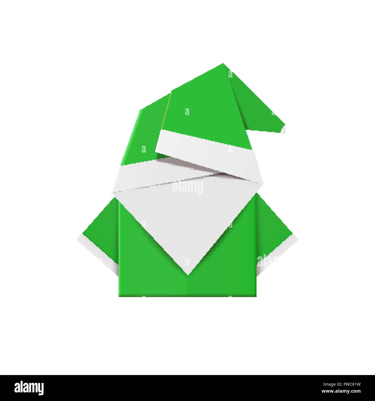 Green origami elf. Christmas decoration toy from paper Stock Vector