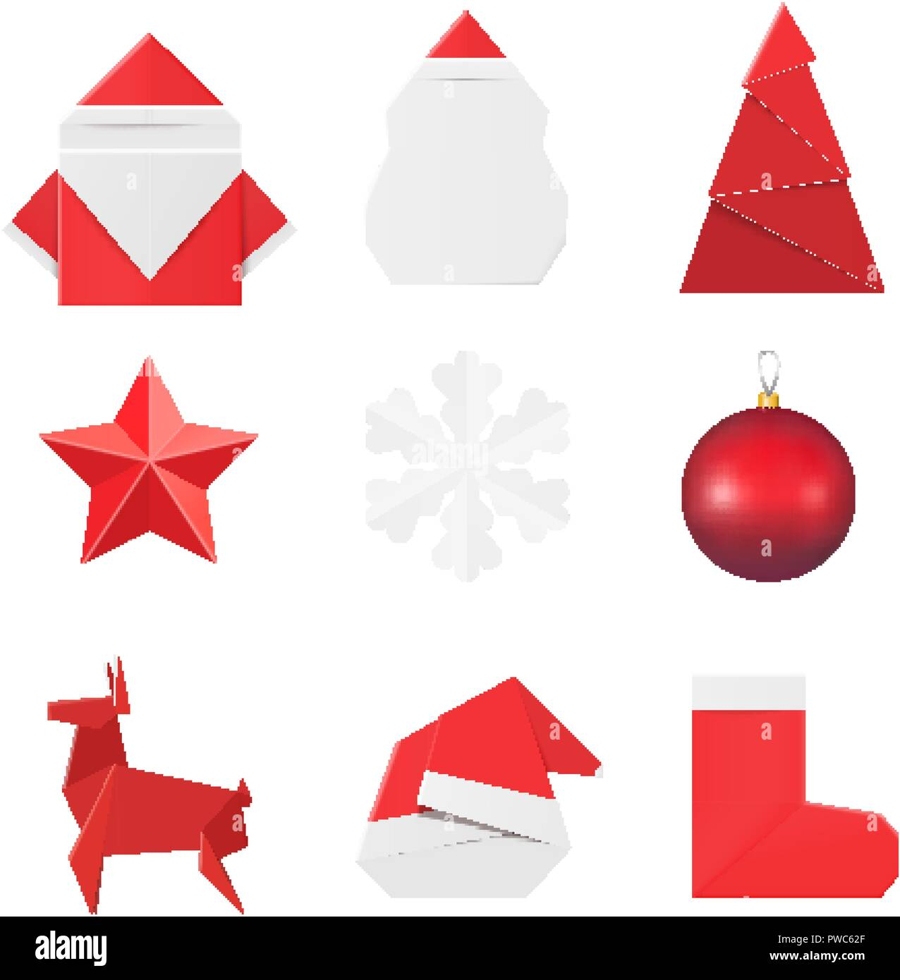 Christmas Origami.Christmas Origami Ornaments And Decorations Paper Santa