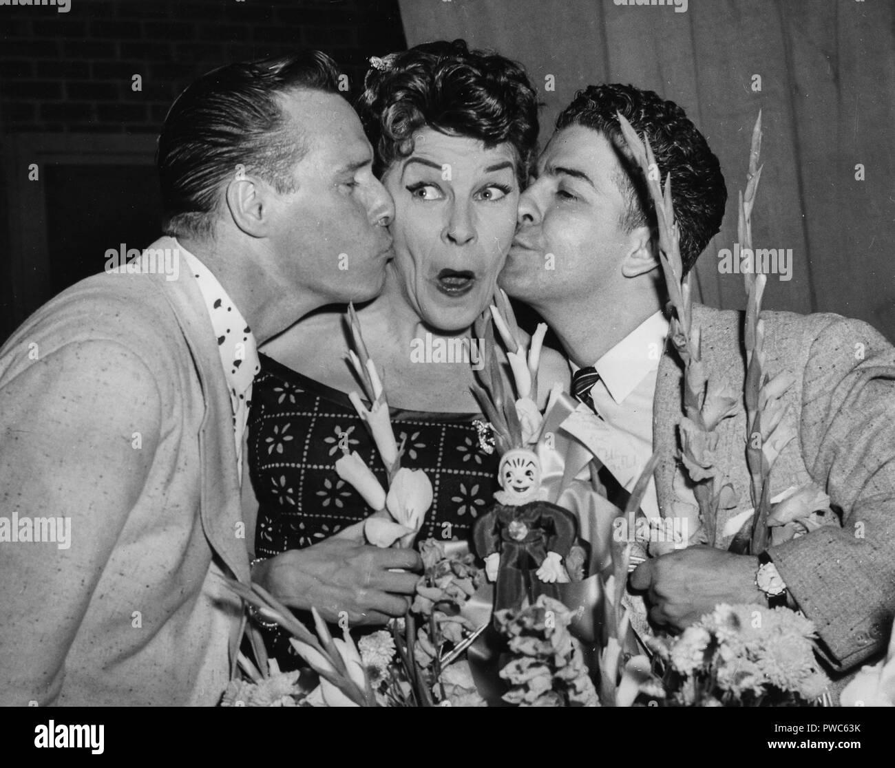 landy arlen, martha raye, vito ruggiero, 1956 - Stock Image