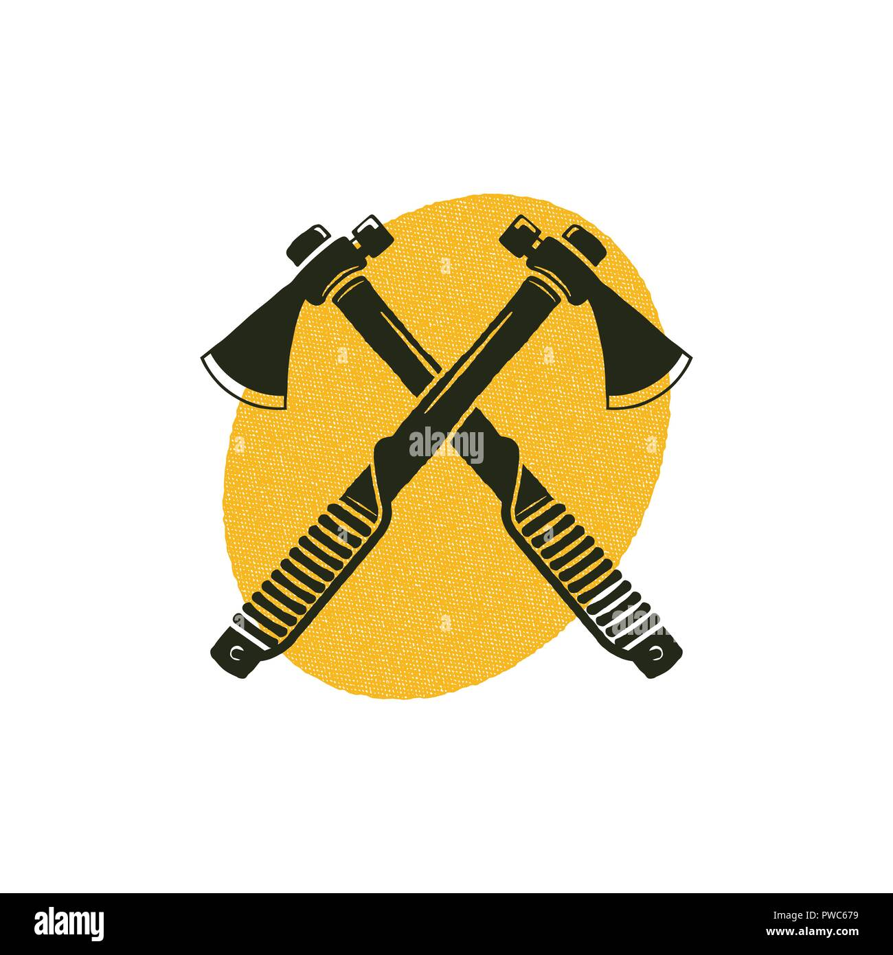 65b64f82f8aab Crossed axes icon with yellow shape behind. Lumberjack symbol isolated on white  background. Silhouette