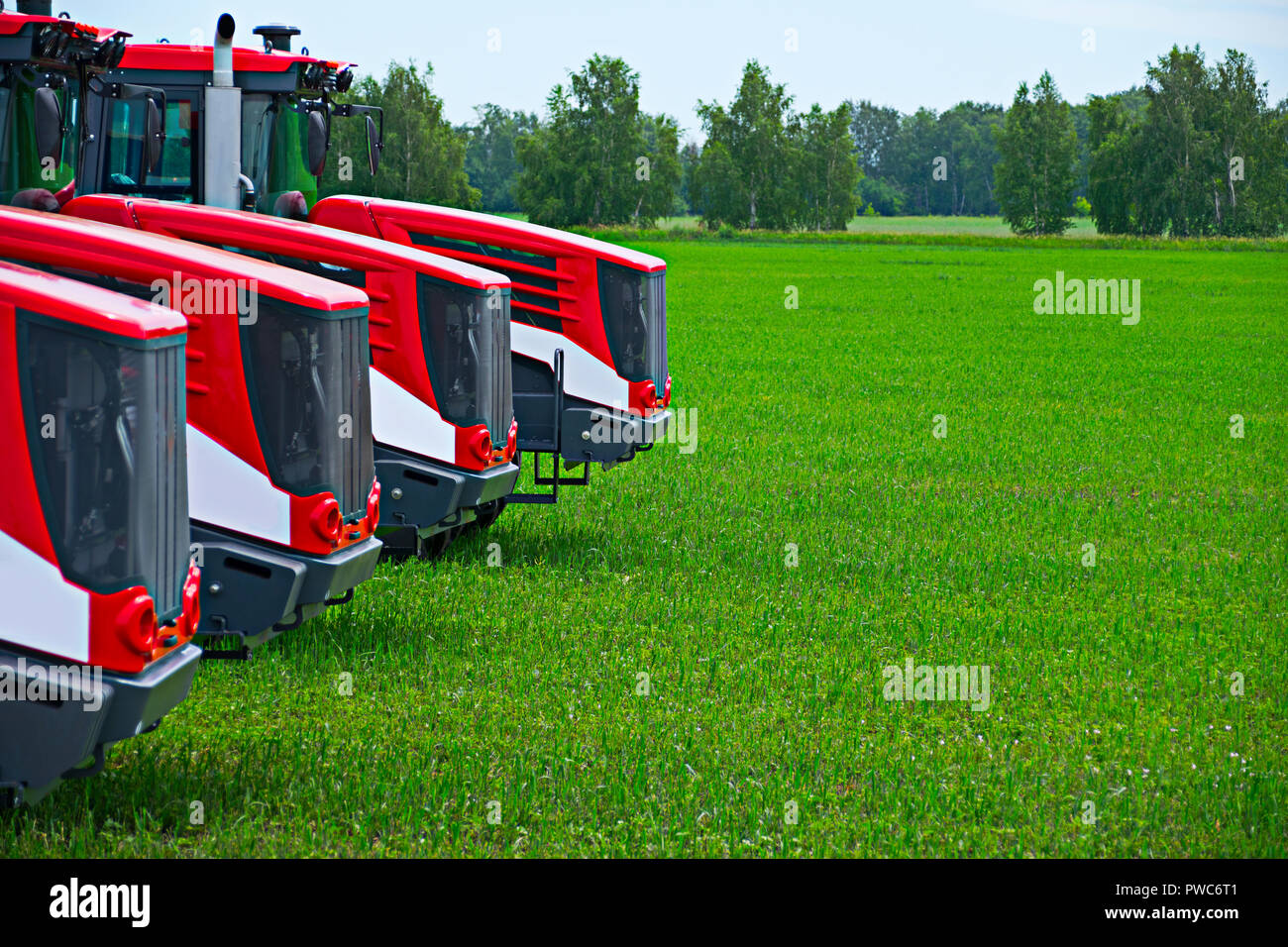 Agricultural machinery ready to cultivate the fields - Stock Image
