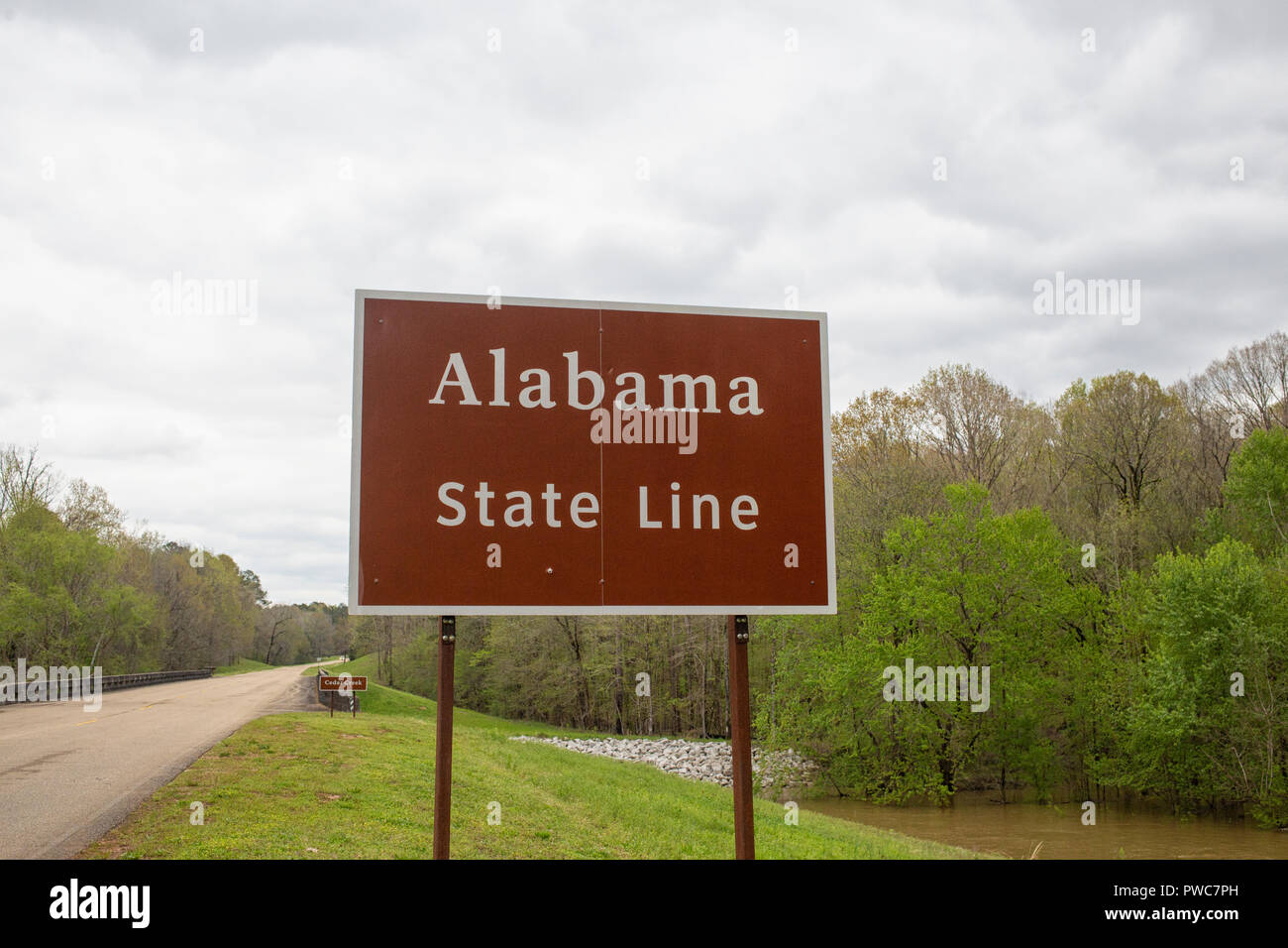 Sign of the Alabama state line near the stateline of Mississippi, USA Stock Photo
