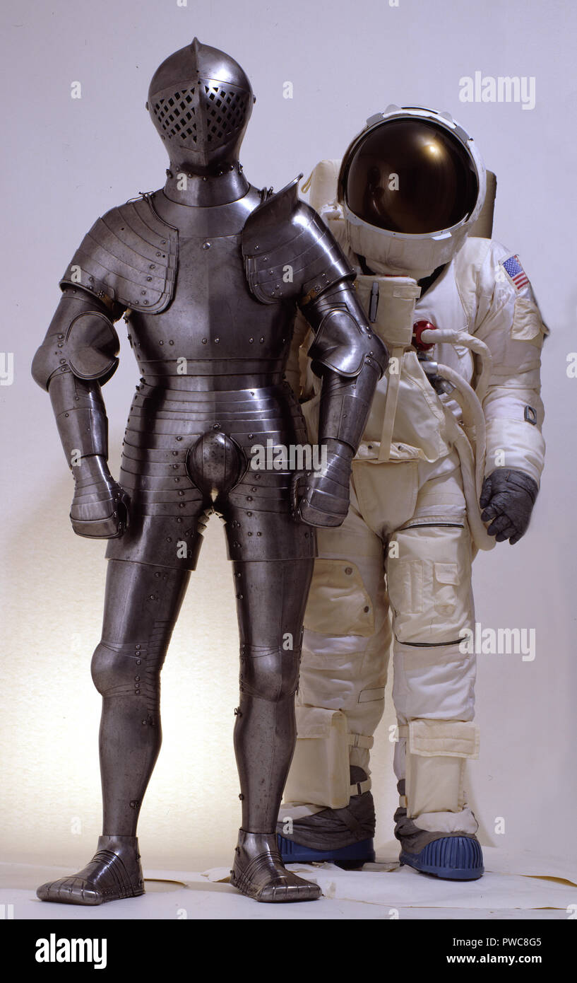NASA spacesuit with the foot combat armour of Henry VIII - Stock Image