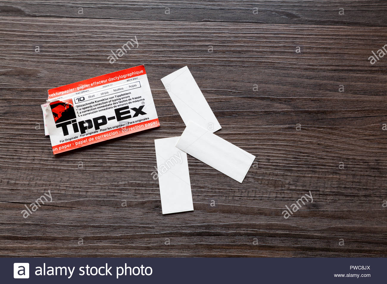 Tipp-ex paper correction strips for an old fashioned typewriter - Stock Image