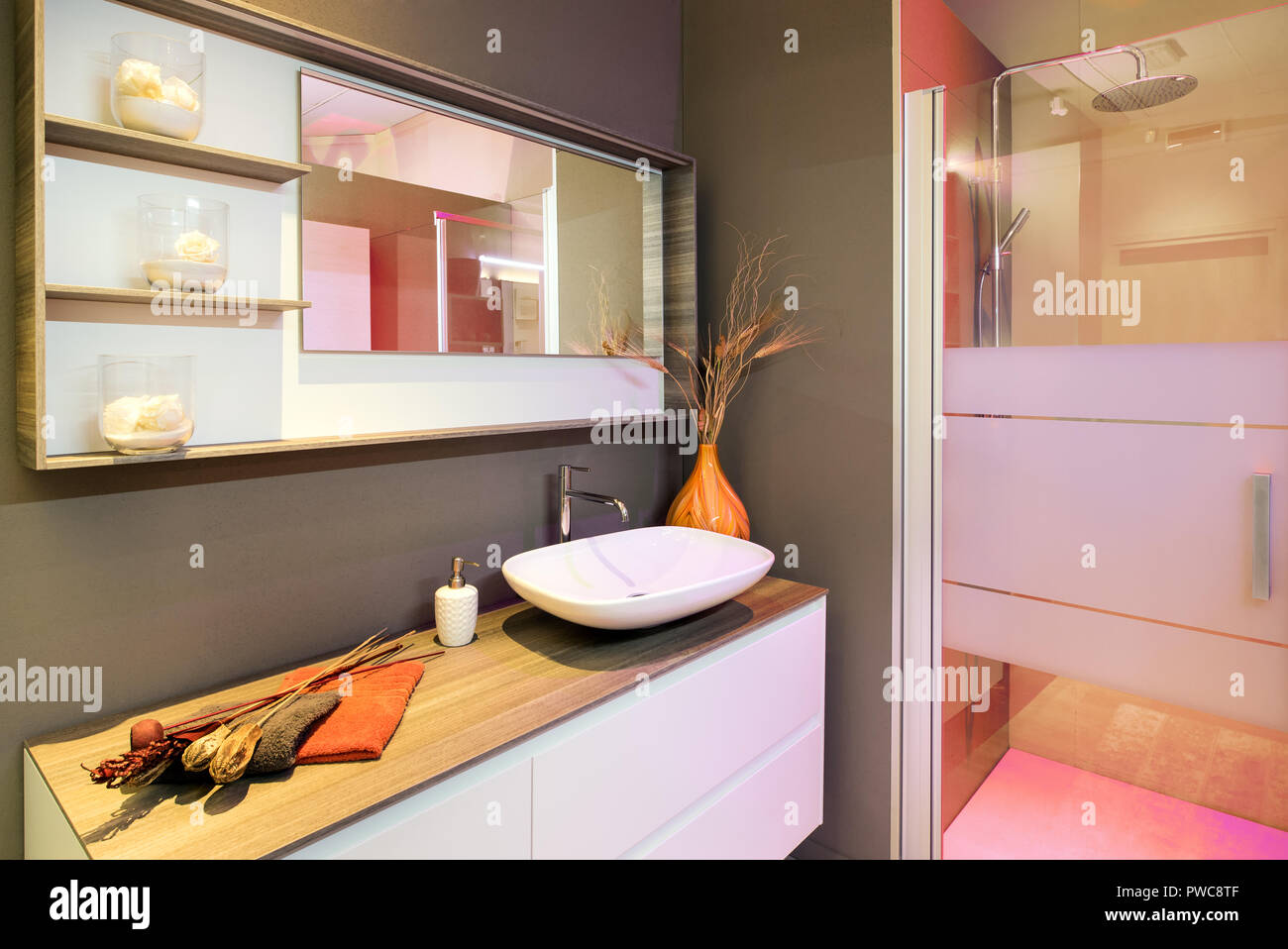 Bathroom interior with hand basin and shower - Stock Image