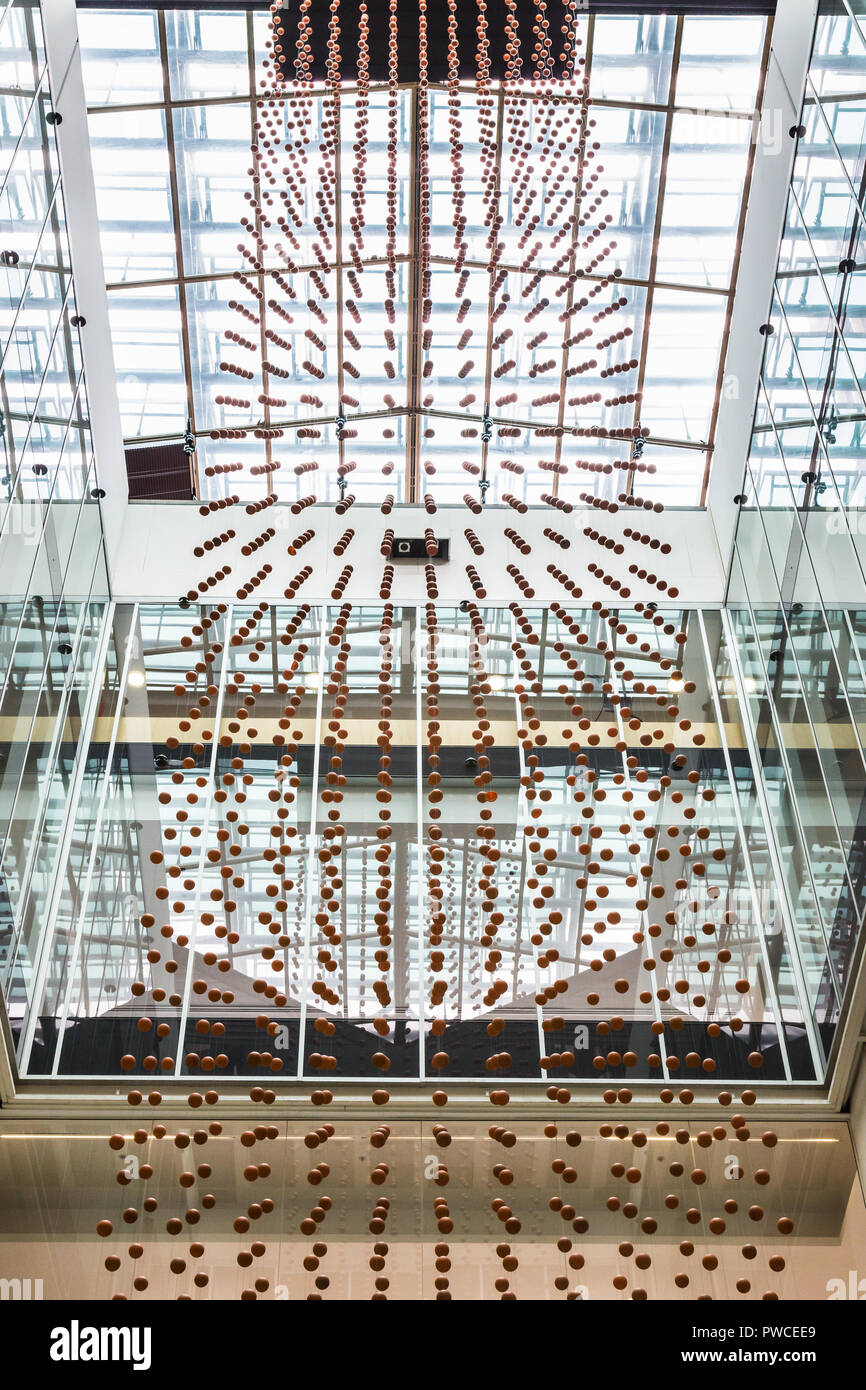 A Sydney creative studio called Mundane Matters, has transformed ocean plastic into an amazing art installation at Customs House, Sydney. Suspended fr - Stock Image