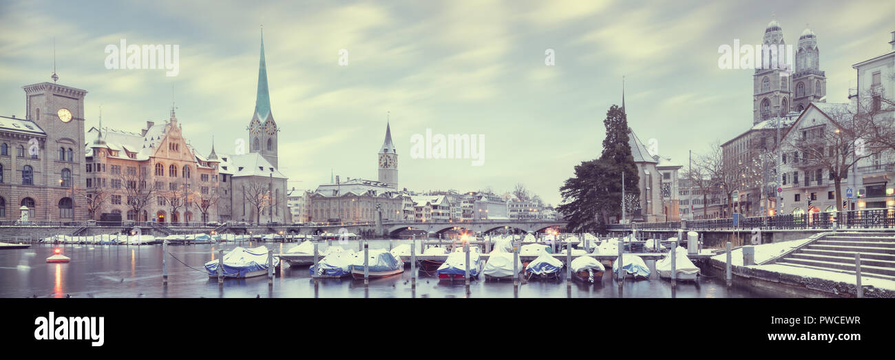 Old Zurich town in winter, view on lake - Stock Image