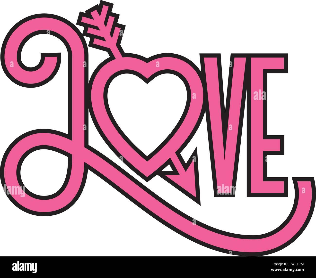 Love heart 3D illustration with arrow through heart ...