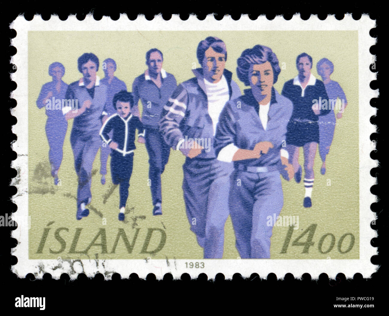 Postmarked stamp from Iceland in the Sports series issued in 1983 - Stock Image