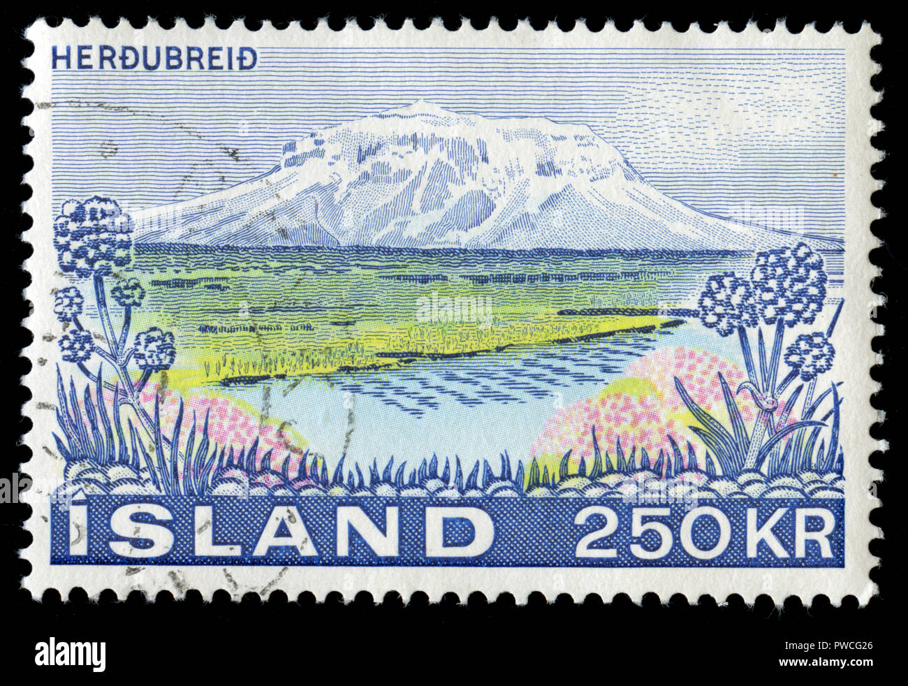 Postmarked stamp from Iceland in the Landscapes series issued in 1972 - Stock Image