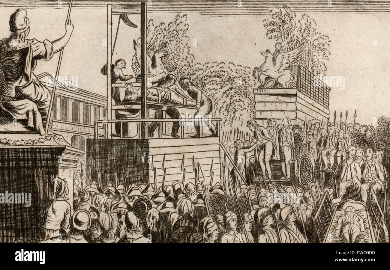 Execution of the Girondins, Brissot and 20 of his accomplices to the guillotine: the 10 Brumaire of the 2nd year of the French Republic one and indivisible, Brissot and 20 of his accomplices suffered their judgment on the place of the Revolution. 1793 - Stock Image