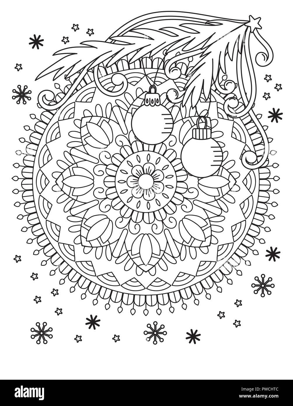 Christmas Mandala Coloring Page Adult Coloring Book Holiday Decore Balls And Snowflake Hand Drawn Vector Illustration Stock Vector Image Art Alamy