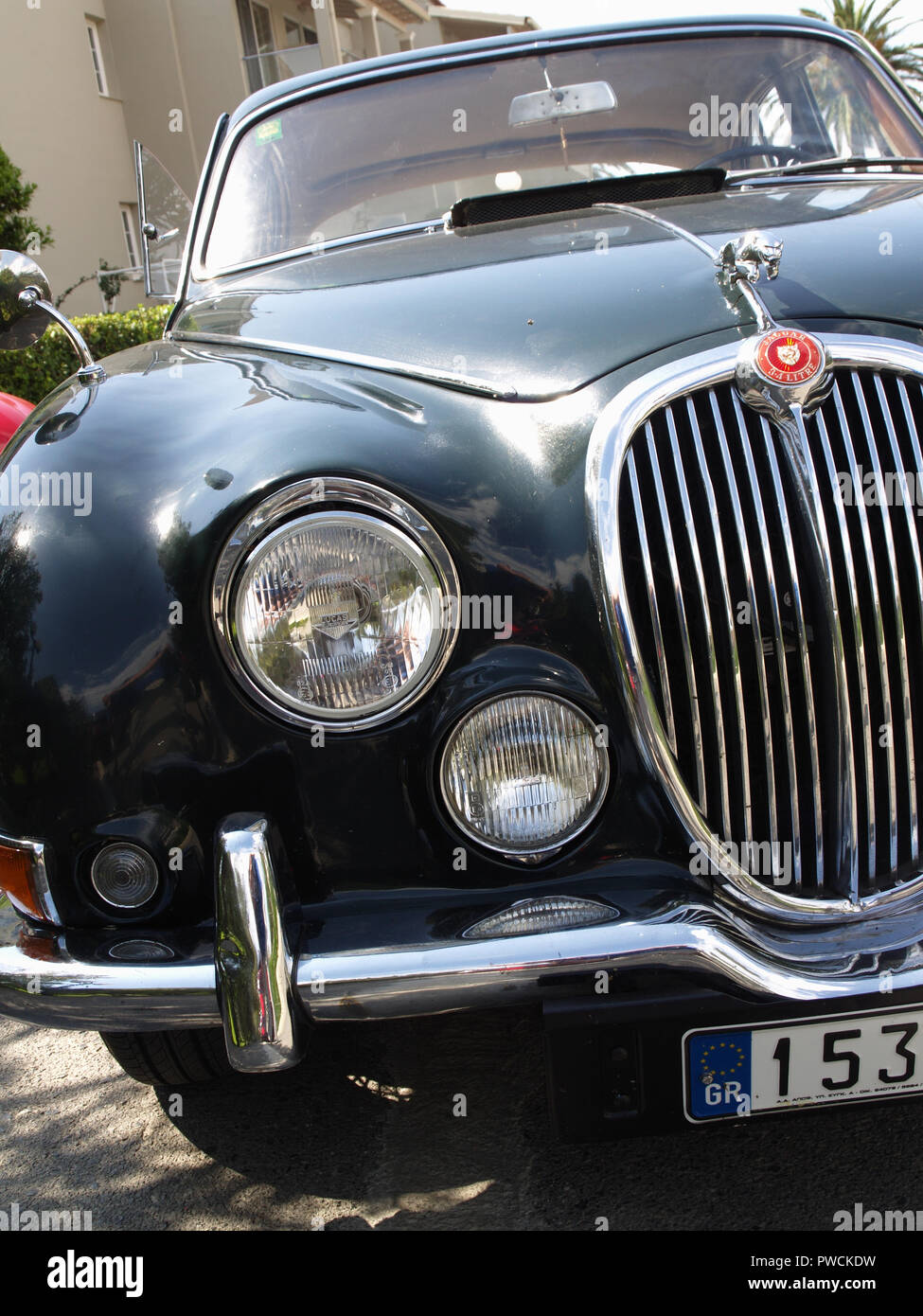 Vintage Jaguar Mark 2 on display at the 8th Hellenic Bulgarian LEKAM classic car rally at the Acharavi Park Hotel, Acharavi, Corfu, Greece - Stock Image