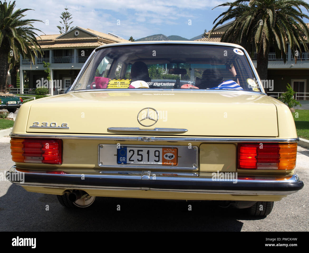 Vintage Mercedes 230 on display at the 8th Hellenic Bulgarian LEKAM classic car rally at the Acharavi Park Hotel, Acharavi, Corfu, Greece - Stock Image