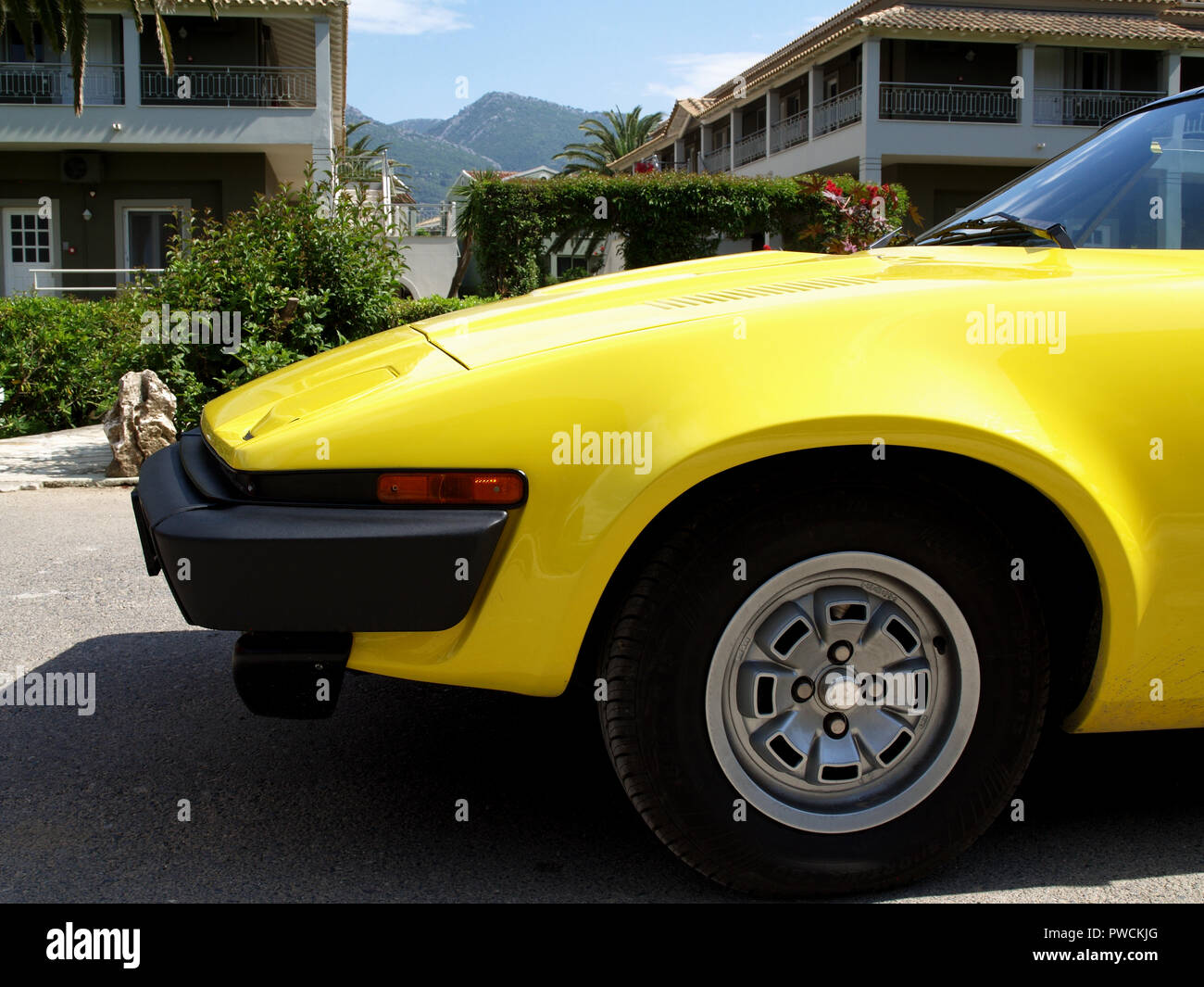 Vintage Triumph TR7 on display at the 8th Hellenic Bulgarian LEKAM classic car rally at the Acharavi Park Hotel, Acharavi, Corfu, Greece - Stock Image