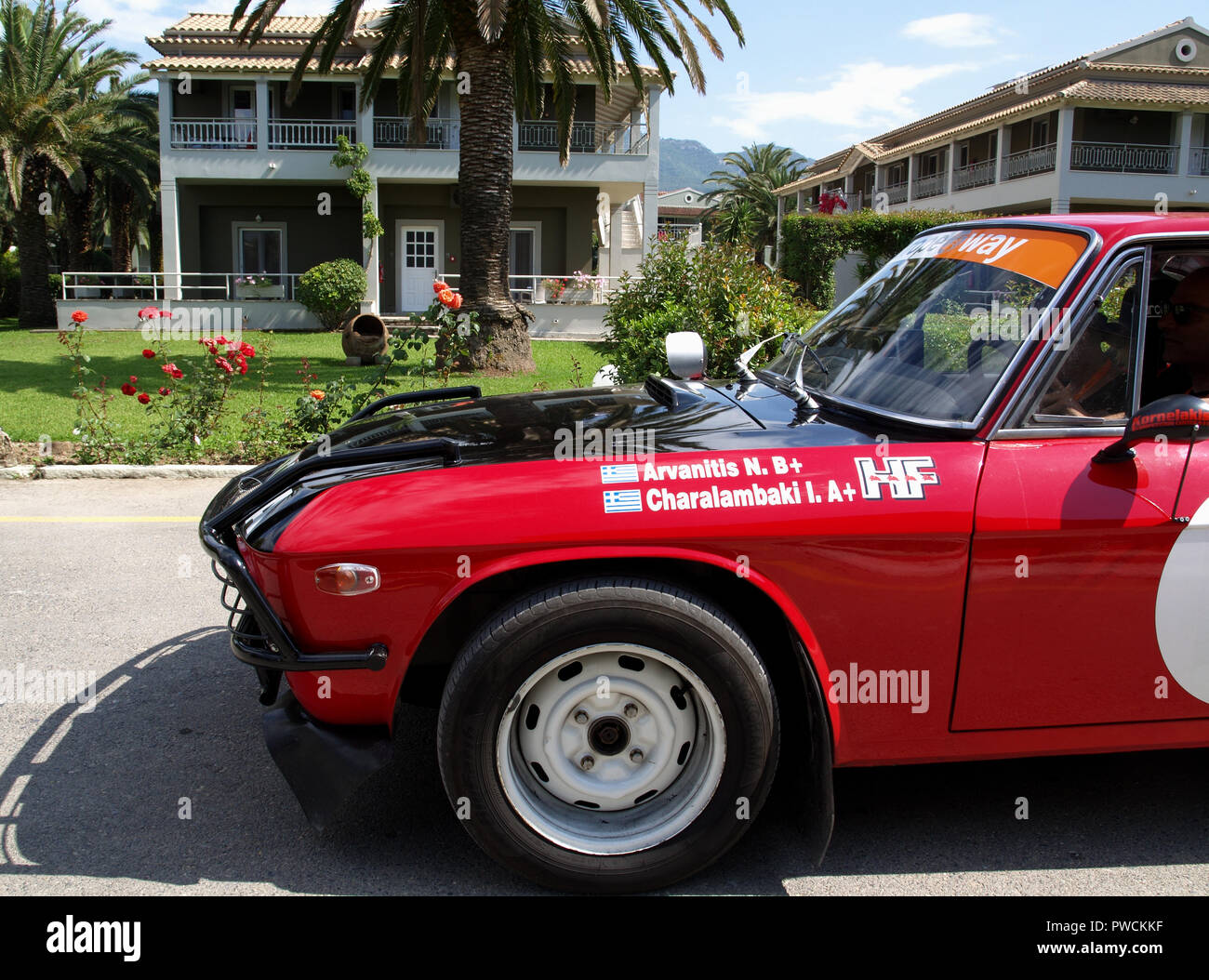Vintage Lancia Fulvia on display at the 8th Hellenic Bulgarian LEKAM classic car rally at the Acharavi Park Hotel, Acharavi, Corfu, Greece - Stock Image
