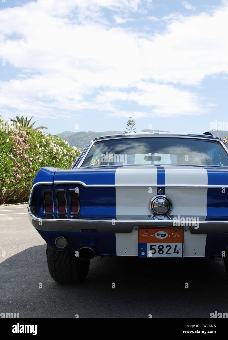 Vintage Ford Mustang on display at the 8th Hellenic Bulgarian LEKAM classic car rally at the Acharavi Park Hotel, Acharavi, Corfu, Greece - Stock Image