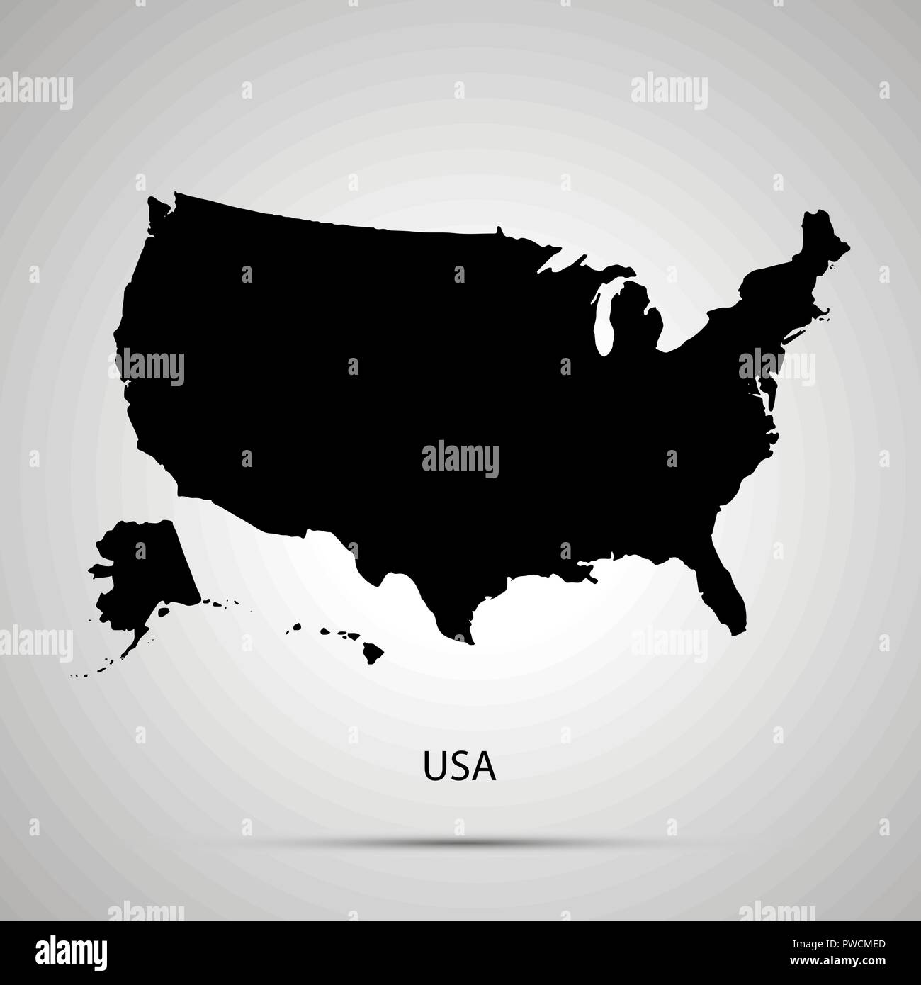 United States On America Country Map Simple Black Silhouette Stock