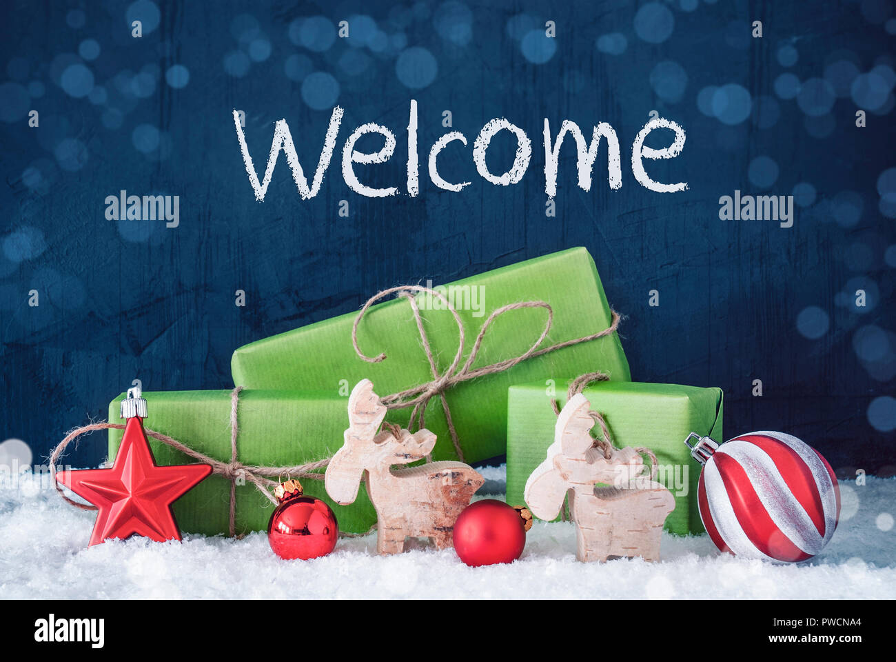 Green Christmas Gifts, Snow, Decoration, Text Welcome Stock Photo ...