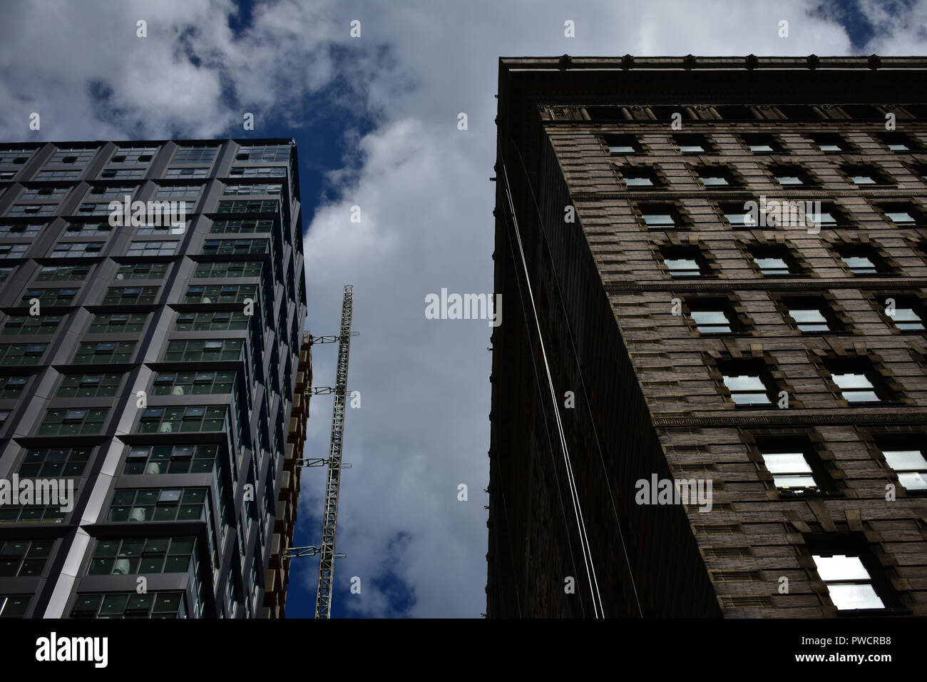 Philadelphia Building Architecture historic vs. modern with POV looking up - Stock Image