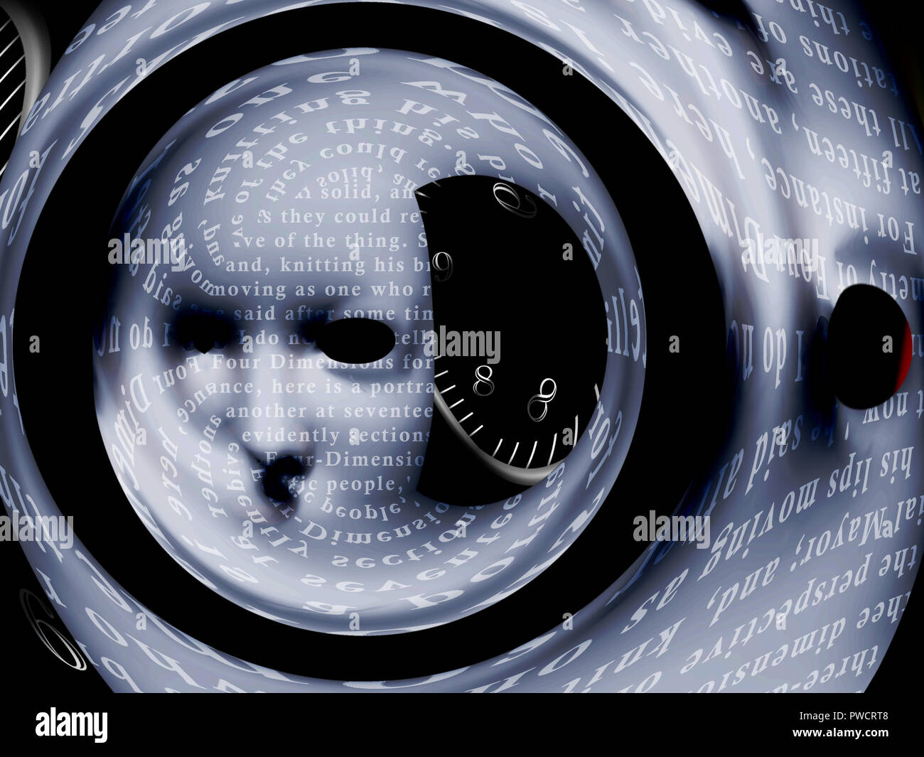 Mask with text stock and time spiral. Warped space. 3D rendering - Stock Image