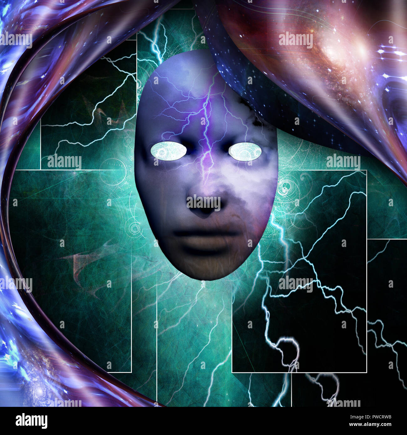 Surrealism. Mystic mask with lightnings. Warped space. Stock Photo