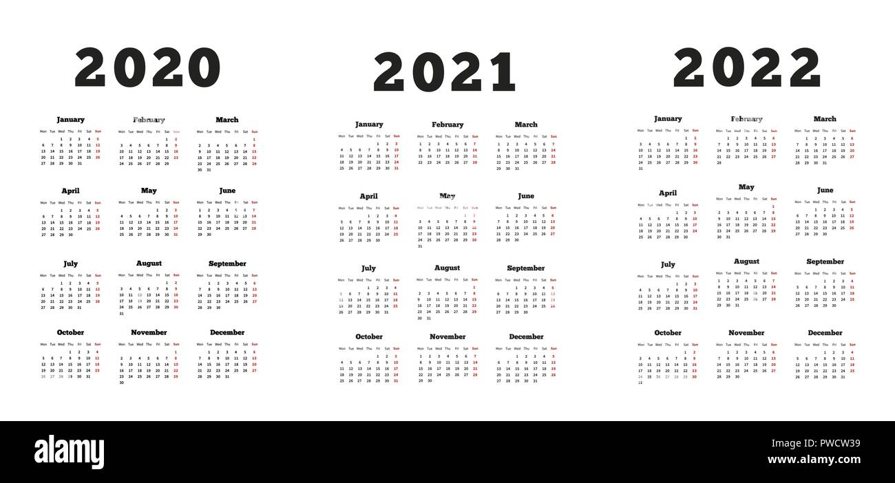 Set of A4 size vertical simple calendars at 2020, 2021, 2022 years