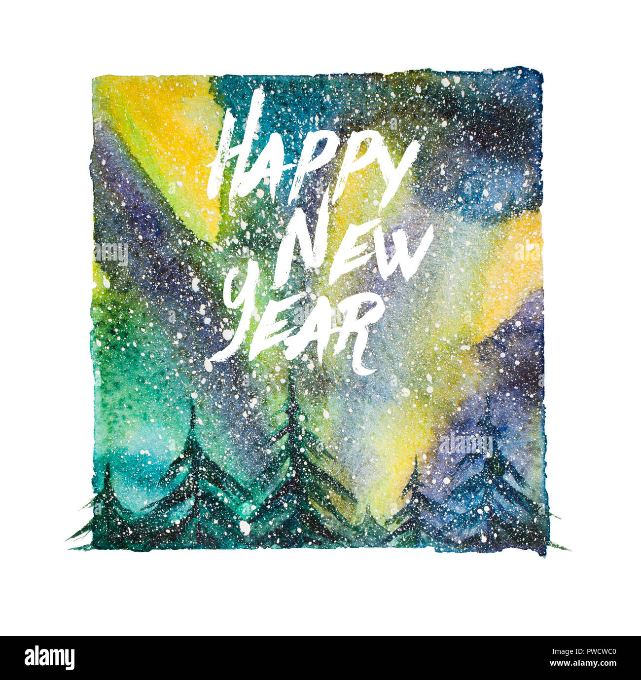 Watercolor northern lights illustration with artistic brushy happy new year lettering - Stock Image